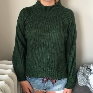green high neck sweater